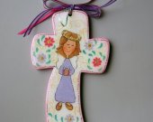 Handmade Wooden Cross with little angel and flowers hand painted
