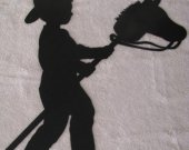 Boy on Stick Pony Western Metal Wall Art Silhouette