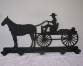 Horse and Wagon Coat Rack Metal Wall Art Silhouette