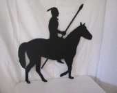 Indian  Warrior on Horse Metal Wall Art Silhouette