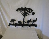 Kangaroo 5 Hook Coat Rack Metal Wildlife Wall Art Silhouette