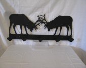 Fighting Elk Coat Rack Metal Wildlife Wall Art  Silhouette