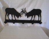 Fighting Elk Coat Rack Metal Wildlife Wall Art  Silhouette