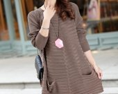 2014new spring fashion women loose fit long sweater 2pocket knitswear long dress cardigan plus size cashmere knit blouse