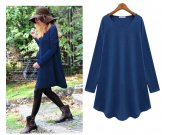 2014 New spring/autumn casual dress women loose fit long t shirt knit sweatshirt girl knit dress plus size knit blouses