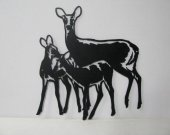 Deer 075 Large Family Standing Wildlife Metal Art Silhouette