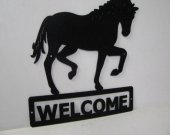 Horse 197 Walking Welcome Sign Metal Art