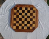 Handmade solid wood chessboard--wenge, movingui, and zebra wood