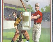 1895 Baseball  Home Plate Illustration (Single, Double)