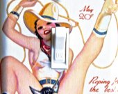 SEXY COWGIRL Vintage Poster Switch Plate (single)