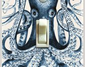 Vintage Blue Octopus Illustration Switch Plate (Single)