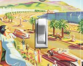MEDITERRANEAN BEACH Vintage Poster Switch Plate (single)