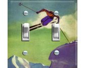 CORNICE JUMPER Vintage Ski Poster Switch Plate (double)