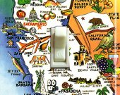 CALIFORNIA Map Vintage Travel Poster Switch Plate (single)