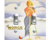 NORGE Hjemland (Norway) Vintage Ski Poster Switch Plate (double)