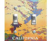 CALIFORNIA Landscape Vintage Travel Poster Switch Plate (double)