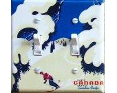 CANADA Tree SKI Vintage Ski Poster Switch Plate (double)