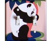 PANDA Zoo vintage poster Switch Plate (double)