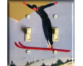 SKI JUMP Soaring Vintage Ski Poster Switch Plate (double)