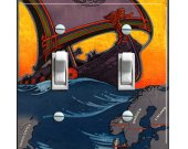 Land of VIKINGS Vintage Travel Poster Switch Plate (double)