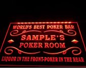 tm-38- Name Personalized Custom World™s Best Poker Room Liquor Bar Beer Neon Sign hang sign home decor crafts