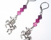Handmade unicorn earrings, pink & purple Swarovski crystals, unicorn charm