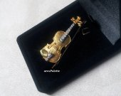 Realistic Violin Brooch_925 Silver Gold plated Violin Brooch _ Violin Pin_Violin Pendant_
