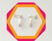 Mat silver designer handmade stud earrings