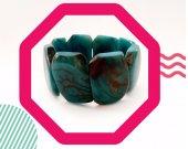 Handmade blue beaded bracelet from palm nut