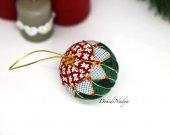 Kimekomi Christmas ball. Xmas tree fabric ornament. Collectible Christmas ornament. Xmas gift.