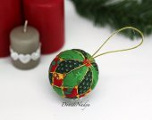 Kimekomi Xmas ball. Fabric Christmas balls. Hanging Christmas tree ornament. Housewarming gift.