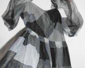 Size M Princess Plaid Vintage new unworn organdi  full lenght linned  dress