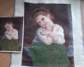 LITTLE GIRL IN GREEN is a beautiful completed Bulgarian Needlepoint Goblin picture unframed