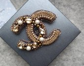 Brooch Chanel, beaded brooch chanel, chanel jewerly, beaded jewerly, chanel pin, beaded pin, handmade brooch