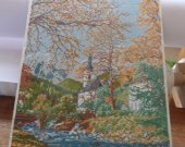 CHAPEL is a beautiful completed Needle point picture, all ready stretched so you can buy a frame and do it your sel