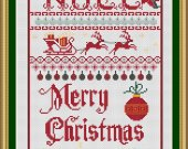 THIS is a Christmas Sampler is a 14 count cross stitch kit with DMC and Anchor and Ariadna Threads