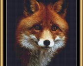 RED FOX  14ct Cross Stitch Kit with sorted 100% cotton threads on Black Aida