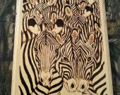 Abstract Zebra Pyrography Wall Hanging