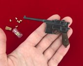 2mm pinfire gun Mauser C96 Black version with wood grips