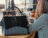 Gift for mom. Fish leather bag, Woman leather bag, Casual style bag, Water Resistant Bag, handmade bag. Black bag for woman