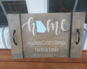 Personalized wood tray with State & name