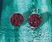 Burgundy Druzy Stud Earrings