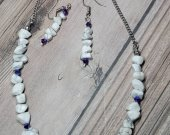 Genuine Natural Howlite with Purple Swarvoski Crystals Necklace and Earring Set