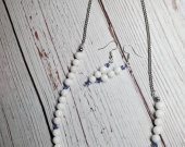 Genuine Natural White Jade with Purple Swarvoski Crystals Necklace and Earring Set