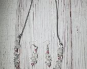 Genuine Natural Quartz with Clear Swarvoski Crystals Necklace and Earring Set