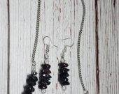 Genuine Snowflake Obsidian with Silver Metallic Swarvoski Crystals Necklace and Earring Set