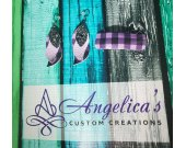 Purple Plaid Faux Vegan Leather Earring/Double-Sided Clip Set or Earrings