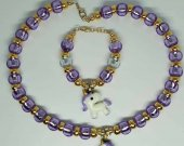 Light Purple Unicorn Necklace/ Bracelet Set