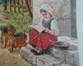 THIS BEAUTIFUL RUSSIAN GIRL SITTING on a DOORSTEP is  is a beautiful finished Bulgarian Goblin unframed