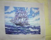 THIS SHIP FLOATS IN THIS HIGH SEAS PICTURE is a completed hand made Needlepoint picture